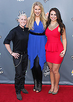 """UNIVERSAL CITY, CA, USA - APRIL 15: Kristen Merlin, Dani Moz, Tess Boyer at NBC's """"The Voice"""" Season 6 Top 12 Red Carpet Event held at Universal CityWalk on April 15, 2014 in Universal City, California, United States. (Photo by Xavier Collin/Celebrity Monitor)"""