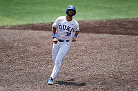 Duke Blue Devils catcher Michael Rothenberg (38) jogs to third base against the Liberty Flames in NCAA Regional play on Robert M. Lindsay Field at Lindsey Nelson Stadium on June 4, 2021, in Knoxville, Tennessee. (Danny Parker/Four Seam Images)