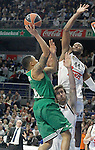Real Madrid's Andres Nocioni (c) and Marcus Slaughter (r) and Panathinaikos Athens' A.J. Slaughter during Euroleague match.January 22,2015. (ALTERPHOTOS/Acero)
