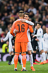 Cristiano Ronaldo of Real Madrid hugs goalkeeper Alphonse Areola of Paris Saint Germain after the UEFA Champions League 2017-18 Round of 16 (1st leg) match between Real Madrid vs Paris Saint Germain at Estadio Santiago Bernabeu on February 14 2018 in Madrid, Spain. Photo by Diego Souto / Power Sport Images