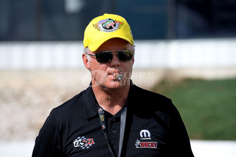Jun. 2, 2013; Englishtown, NJ, USA: David Hagan , father of NHRA funny car driver Matt Hagan (not pictured) after winning the Summer Nationals at Raceway Park. Mandatory Credit: Mark J. Rebilas-