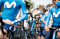 Eduard Prades (ESP/Movistar) checking his power meter at the start in Herve<br /> <br /> 84th La Flèche Wallonne 2020 (1.UWT)<br /> 1 day race from Herve to Mur de Huy (202km/BEL)<br /> <br /> ©kramon
