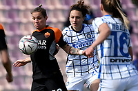 Elena Linari of AS Roma and Ilaria Mauro of FC Internazionale compete for the ball during the Women Serie A football match between AS Roma and FC Internazionale at stadio Agostino Di Bartolomei, Roma, March 20th, 2021. AS Roma won 4-3 over FC Internazionale. Photo Andrea Staccioli / Insidefoto