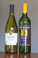 Bottles of 10 Anos Chardonnay Reserve 2004 and Las Brujax Vineyards Chardonnay Muscat Fine White Wine Canelones 2001 Bodega Plaza Vidiella Winery, Las Brujas, Canelones, Uruguay, South America