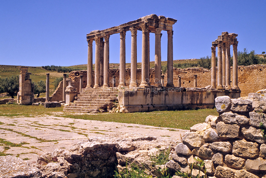 Tunisia, Dougga.  Roman Ruins.  Temple of Caelestis, 3rd. Century A.D.
