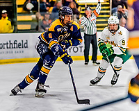 26 January 2019: Merrimack College Warrior Defenseman Johnathan Kovacevic, a Junior from Grimsby, Ontario, in second period action against the University of Vermont Catamounts at Gutterson Fieldhouse in Burlington, Vermont. The Warriors fell to the Catamounts 4-3 in overtime after tying up the game in the dyeing seconds of the third period of their America East conference game. Mandatory Credit: Ed Wolfstein Photo *** RAW (NEF) Image File Available ***