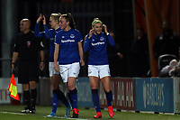 Chloe Kelly of Everton women  is congratulated after scoring the first goal during Tottenham Hotspur Women vs Everton Women, Barclays FA Women's Super League Football at the Hive Stadium on 12th February 2020