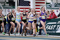 WINSTON-SALEM, NC - FEBRUARY 08: Savannah Carnahan #8 of Furman University, Sara Freix #5 of Virginia Tech, Sara Platek #1 of Duke University, Kelsey Chmiel #7 of NC State University, and Alexandra Hays #4 of Columbia University compete in the Women's Camel City Elite 3000 Meters at JDL Fast Track on February 08, 2020 in Winston-Salem, North Carolina.