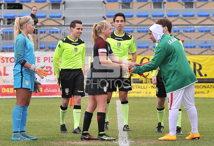 Monfalcone, Italy, April 26, 2016.<br /> The two captains Enge (L) and Geraeili ahead of USA v Iran football match at Gradisca Tournament of Nations (women's tournament). Monfalcone's stadium.<br /> © ph Simone Ferraro / Isiphotos