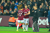 Andy Carroll of West Ham United comes on for Javier Hernandez of West Ham United during West Ham United vs Liverpool, Premier League Football at The London Stadium on 4th February 2019