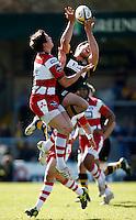 Photo: Richard Lane/Richard Lane Photography. London Wasps v Gloucester Rugby. Aviva Premiership. 01/04/2012. Wasps' Hugo Southwell wins a high ball above Gloucester's  Jonny May.