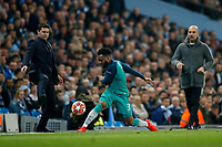 Danny Rose of Tottenham Hotspurfails to keep the ball in as Tottenham Hotspur Manager Mauricio Pochettino and Manchester City Manager Pep Guardiola look on during the UEFA Champions League Quarter Final second leg match between Manchester City and Tottenham Hotspur at the Etihad Stadium on April 17th 2019 in Manchester, England. (Photo by Daniel Chesterton/phcimages.com)<br /> Foto PHC/Insidefoto <br /> ITALY ONLY