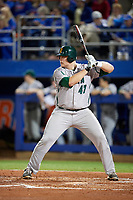 Siena Saints first baseman Joe Drpich (47) at bat during a game against the Florida Gators on February 16, 2018 at Alfred A. McKethan Stadium in Gainesville, Florida.  Florida defeated Siena 7-1.  (Mike Janes/Four Seam Images)