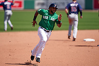 Boston Red Sox César Puello (75) running the bases during a Major League Spring Training game against the Minnesota Twins on March 17, 2021 at JetBlue Park in Fort Myers, Florida.  (Mike Janes/Four Seam Images)