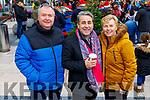 Timmy Cotter from Headford, Killarney, Peter Kelly (aka Franc) and Liz Cotter enjoying the festive fun at the Snow Day in the square in Tralee on Saturday.