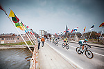 Patrick Gamper (AUT) Bora-Hansgrohe leads the field during the 2021 Flèche-Wallonne, running 193.6km from Charleroi to Huy, Belgium. 21st April 2021.  <br /> Picture: A.S.O./Aurélien Vialatte | Cyclefile<br /> <br /> All photos usage must carry mandatory copyright credit (© Cyclefile | A.S.O./Aurélien Vialatte)