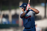 Fort Myers Miracle right fielder Alex Kirilloff (19) at bat during a game against the Lakeland Flying Tigers on August 7, 2018 at Publix Field at Joker Marchant Stadium in Lakeland, Florida.  Fort Myers defeated Lakeland 5-0.  (Mike Janes/Four Seam Images)
