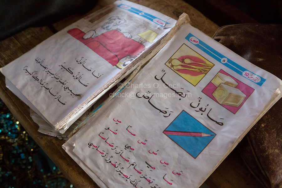 Senegal, Touba.  Book Used by Young Students to Learn Arabic at Al-Azhar Madrasa, a School for Islamic Studies.