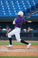 Braylon Bishop (9) of Texarkana Arkansas HS in Ashdown, AR playing for the Colorado Rockies scout team during the East Coast Pro Showcase at the Hoover Met Complex on August 4, 2020 in Hoover, AL. (Brian Westerholt/Four Seam Images)