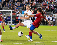 HOUSTON, TX - FEBRUARY 03: Lindsey Horan #9 of the USA attempts to block a clearance by Katherine Alvarado #16 of Costa Rica during a game between Costa Rica and USWNT at BBVA Stadium on February 03, 2020 in Houston, Texas.