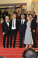 Mel Gibson, Jean-Francois Richet, Erin Moriarty, Diego Luna attend the 'Blood Father' Premiere during the 69th annual Cannes Film Festival at the Palais des Festivals on May 21, 2016 in Cannes