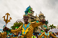 Afro-Colombian dancers perform in front of the San Francisco De Asis Cathedral during the San Pacho festival in Quibdó, Colombia, 3 October 2019. Every year at the turn of September and October, the capital of the Pacific region of Chocó holds the celebrations in honor of Saint Francis of Assisi (locally named as San Pacho), recognized as Intangible Cultural Heritage by UNESCO. Each day carnival groups, wearing bright colorful costumes and representing each neighborhood, dance throughout the city, supported by brass bands playing live music. The festival culminates in a traditional boat ride on the Atrato River, followed by massive religious processions, which accent the pillars of Afro-Colombian's identity – the Catholic devotion grown from African roots.