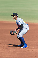 Glendale Desert Dogs first baseman Jared Walker (66), of the Los Angeles Dodgers organization, during an Arizona Fall League game against the Peoria Javelinas at Peoria Sports Complex on October 22, 2018 in Peoria, Arizona. Glendale defeated Peoria 6-2. (Zachary Lucy/Four Seam Images)