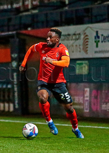 21st November 2020; Kenilworth Road, Luton, Bedfordshire, England; English Football League Championship Football, Luton Town versus Blackburn Rovers; Kazenga LuaLua of Luton Town looking for support