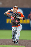 Bowling Green Falcons second baseman Derek Drewes (5) makes a throw to first base against the Michigan Wolverines on April 6, 2016 at Ray Fisher Stadium in Ann Arbor, Michigan. Michigan defeated Bowling Green 5-0. (Andrew Woolley/Four Seam Images)