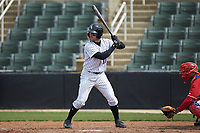 Luis Gonzalez (10) of the Kannapolis Intimidators at bat against the Lakewood BlueClaws at Kannapolis Intimidators Stadium on April 8, 2018 in Kannapolis, North Carolina.  The Intimidators defeated the BlueClaws 5-1 in game one of a double-header.  (Brian Westerholt/Four Seam Images)