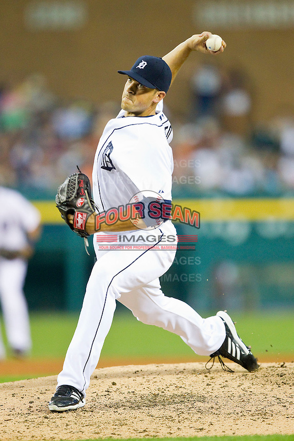 Detroit Tigers relief pitcher Evan Reed (57) in action against the Los Angeles Angels at Comerica Park on June 25, 2013 in Detroit, Michigan.  The Angels defeated the Tigers 14-8.  (Brian Westerholt/Four Seam Images)