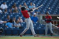Alika Williams (6) of the Charleston RiverDogs breaks his bat against the Kannapolis Cannon Ballers at Atrium Health Ballpark on June 30, 2021 in Kannapolis, North Carolina. (Brian Westerholt/Four Seam Images)