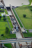 aerial photograph of barges moving through Port Allen Lock to enter the Mississippi River, Port Allen, West Baton Rouge Parish, Louisiana