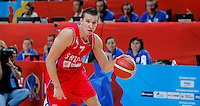 Serbia's Bogdan Bogdanovic controls the ball during European championship basketball match for third place between France and Serbia on September 20, 2015 in Lille, France  (credit image & photo: Pedja Milosavljevic / STARSPORT)