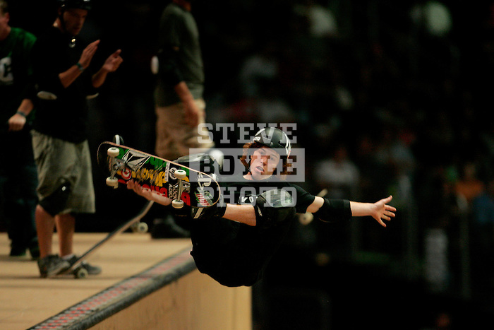 Shaun White competes in the Skateboard Vert Best Trick finals at the Staples Center during X-Games 12 in Los Angeles, California on August 4, 2006.