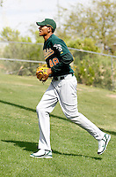 Michael Ynoa in his first day of spring training workouts at the Oakland Athletics training facility in Phoenix, AZ - March 9, 2009. Ynoa, a native of the Dominican Republic, signed a contract last summer at the age of 16 for a record bonus of $4.25 million..Photo by:  Bill Mitchell/Four Seam Images