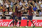 FC Barcelona's Neymar Santos Jr, Leo Messi, Pedro Rodriguez and Cesc Fabregas celebrate goal during La Liga match.September 1,2013. (ALTERPHOTOS/Acero)