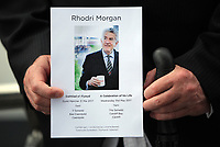 "Pictured: The order of service. Wednesday 31 May 2017<br /> Re: The funeral for former first minister Rhodri Morgan has taken place in the Senedd in Cardiff Bay.<br /> The ceremony, which was open to the public, was conducted by humanist celebrant Lorraine Barrett.<br /> She said the event was ""a celebration of his life through words, poetry and music"".<br /> Mr Morgan, who died earlier in May aged 77, served as the Welsh Assembly's first minister from 2000 to 2009.<br /> He was credited with bringing stability to the fledgling assembly during his years in charge.<br /> It is understood Mr Morgan had been out cycling near his home when he died."