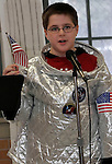 """NAUGATUCK, CT06 January 2006-010606TK04    In a program called """"Reception at the White House, Hop Brook Intermediate School students dress up a part of a famous person of historical importance. The program is the follow up in a lesson on biographies. James Fitch presented himself as Neil Armstrong.  Tom Kabelka / Republican-American (Kurtis Szecziul, Hop Brook Intermediate School)CQ"""
