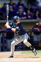 Auburn Tigers second baseman Jordan Ebert #23 at bat against the LSU Tigers in the NCAA baseball game on March 24, 2013 at Alex Box Stadium in Baton Rouge, Louisiana. LSU defeated Auburn 5-1. (Andrew Woolley/Four Seam Images).