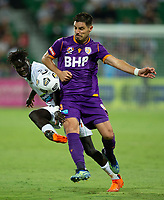 27th March 2021; HBF Park, Perth, Western Australia, Australia; A League Football, Perth Glory versus Newcastle Jets; Bruno Fornaroli Mezza of the Perth Glory challenges for the loose ball against Kuach Yuel of the Newcastle Jets