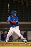 AZL Cubs 1 third baseman Orian Nunez (18) at bat during an Arizona League game against the AZL Diamondbacks at Sloan Park on June 18, 2018 in Mesa, Arizona. AZL Diamondbacks defeated AZL Cubs 1 7-0. (Zachary Lucy/Four Seam Images)