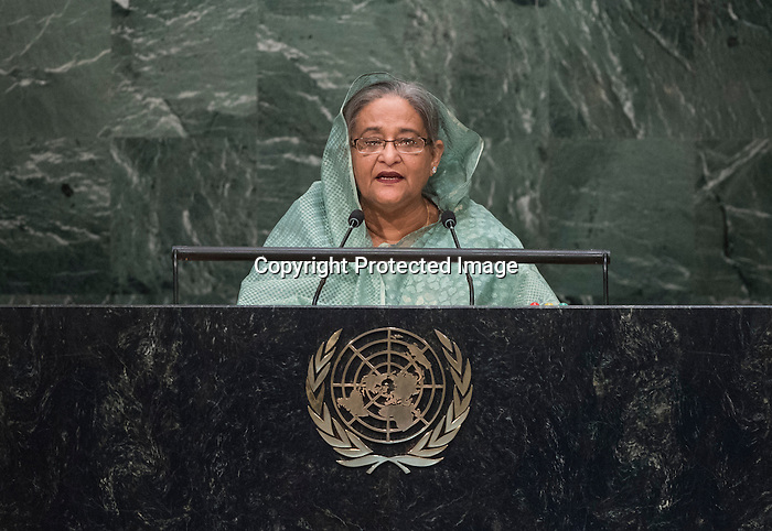 . Her Excellency Sheikh Hasina, Prime Minister of the People's Republic of Bangladesh  <br /> General Assembly Seventieth session 9th plenary meeting: High-level plenary meeting of the (6th meeting)