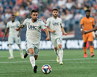 FOXBOROUGH, MA - JUNE 29: Diego Fagundez #14 on the attack during a game between Houston Dynamo and New England Revolution at Gillette Stadium on June 29, 2019 in Foxborough, Massachusetts.