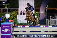 GBR-Harry Charles rides Romeo 88 during the Longines FEI Jumping Nations Cup™ Final - First Round. 2021 ESP-Longines FEI Jumping Nations Cup Final. Real Club de Polo, Barcelona. Spain. Friday 1 October 2021. Copyright Photo: Libby Law Photography