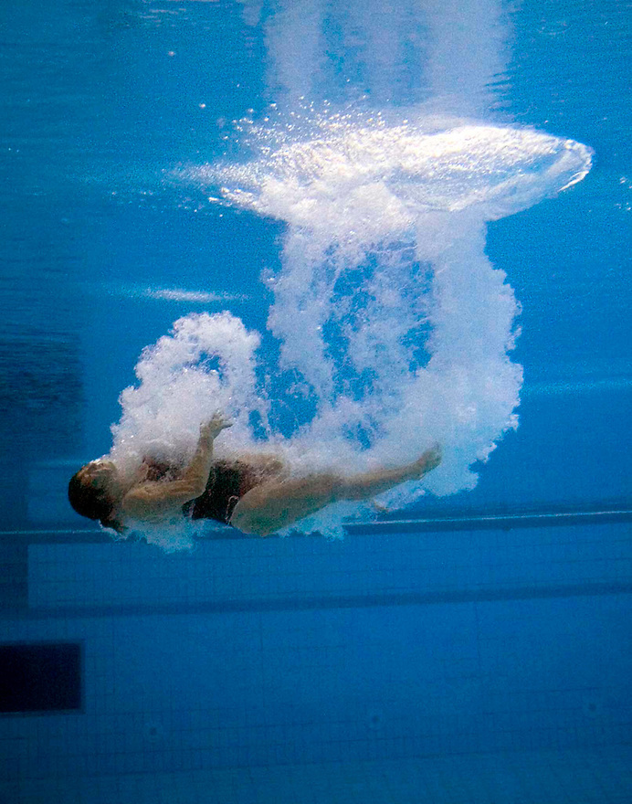 Chantelle Newberry over-rotates a dive at the Australian Open Diving Championships in Melbourne.