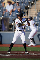 West Virginia Black Bears Blake Sabol (24) at bat during a NY-Penn League game against the Batavia Muckdogs on August 29, 2019 at Monongalia County Ballpark in Morgantown, New York.  West Virginia defeated Batavia 5-4 in ten innings.  (Mike Janes/Four Seam Images)