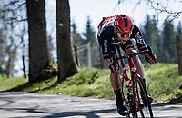 Tomasz Marczyński (POL/Lotto Soudal) in the breakaway of the day, descending the Côte de Stockeu<br /> <br /> 107th Liège-Bastogne-Liège 2021 (1.UWT)<br /> 1 day race from Liège to Liège (259km)<br /> <br /> ©kramon