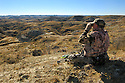 00105-040.03 Bowhunting (DIGITAL) A well-camouflage archer uses binoculars to spot game from ridge in Badlands.  Hunt, mule deer.  H3L1