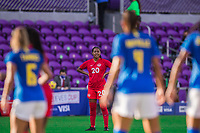 ORLANDO, FL - FEBRUARY 24: Jayde Riviere #20 of the CANWNT waits for the ball during a game between Brazil and Canada at Exploria Stadium on February 24, 2021 in Orlando, Florida.